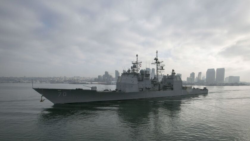 SAN DIEGO, CA. JAN 19, 2018- The guided missile cruiser USS Lake Erie sails through San Diego Bay in January 2018.