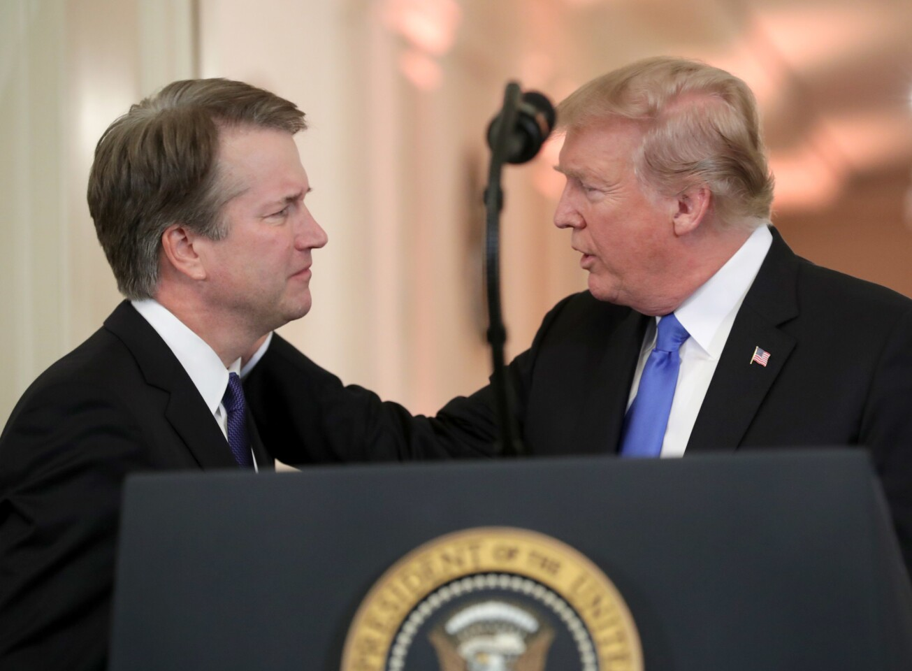 President Donald Trump introduces Judge Brett M. Kavanaugh as his nominee to the United States Supreme Court during an event in the East Room of the White House on July 9, 2018 in Washington, D.C. If confirmed, Kavanaugh would succeed Associate Justice Anthony Kennedy, 81, who is retiring after 30 years of service on the high court.