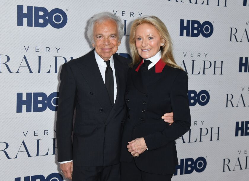 "Ralph Lauren and wife Ricky at the premiere of the HBO documentary ""Very Ralph."""