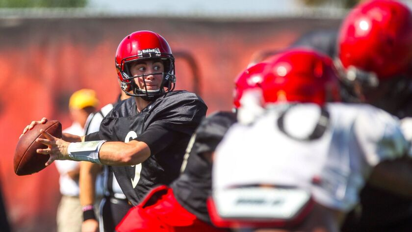 San Diego State sophomore quarterback Ryan Agnew's familiarity with the offense enabled him to hold onto the backup quarterback role behind starter Christian Chapman.