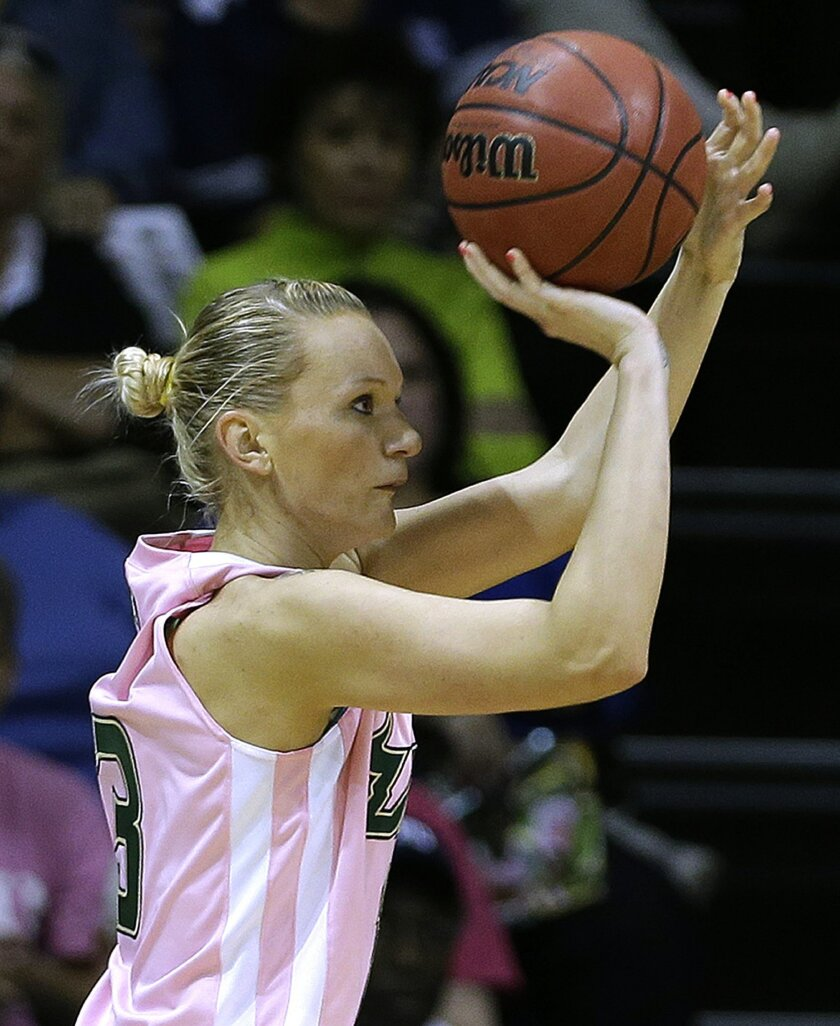 South Florida guard Inga Orekhova (13) puts up a three-point shot against Connecticut during the second half of an NCAA women's college basketball game, Sunday, Feb. 16, 2014, in Tampa, Fla. Connecticut won the game 63-38. (AP Photo/Chris O'Meara)