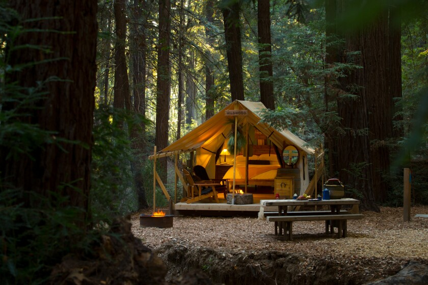 Tucked into a redwood canyon in northern Big Sur the tents at Ventana Big Sur reflect both the outdoors and a sense of luxury
