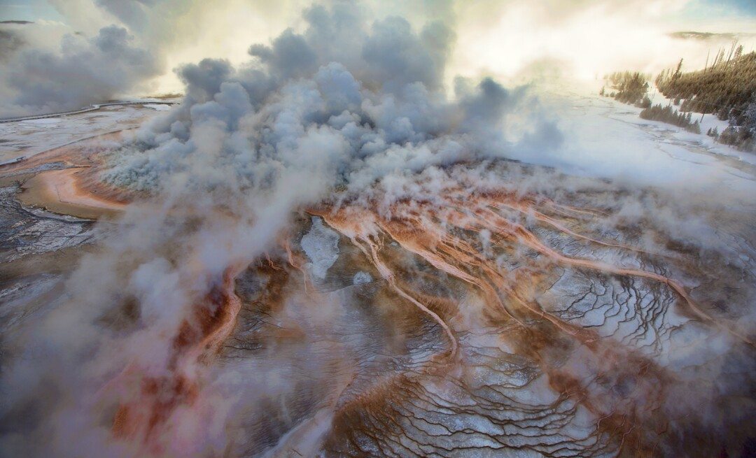 "More than a third of Yellowstone sits within the caldera of an active volcano, shown in this photo featured in ""National Geographic: 50 Greatest Landscapes."""