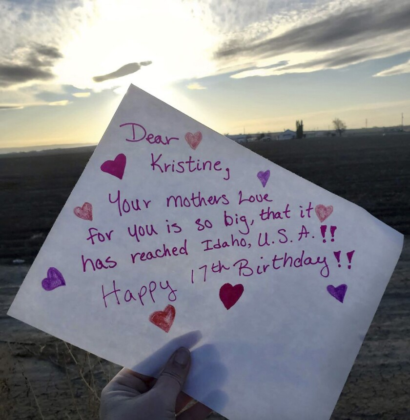 """This photo provided by Mona Helgeland in Ålgård, Norway, shows a birthday card made by an American from Idaho and member of the Facebook group """"Random Acts of Kindness"""" for her daughter Kristine, who is about to celebrate her 17th birthday. Helgeland appealed to members of the virtual group to send birthday wishes to her daughter, who was disappointed that her party had to be canceled due to coronavirus concerns. (Mona Helgeland via AP)"""