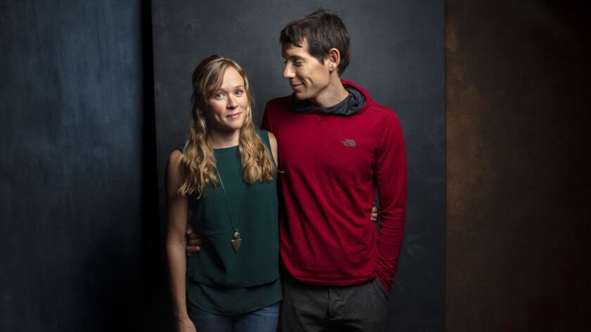 """TORONTO, ONT., CA -- SEPTEMBER 10, 2018-- Sanni McCandless and subject Alex Honnold, from the film """""""