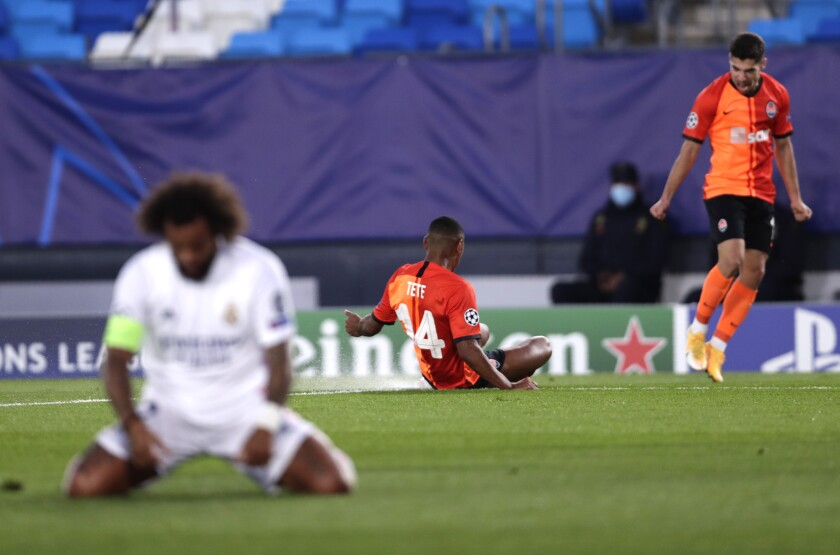 Shakhtar's Tete celebrates after scoring his side's opening goal during the Champions League, group B soccer match between Real Madrid and Shakhtar Donetsk at Alfredo di Stefano stadium in Madrid, Spain, Wednesday, Oct. 21, 2020. (AP Photo/Manu Fernandez)