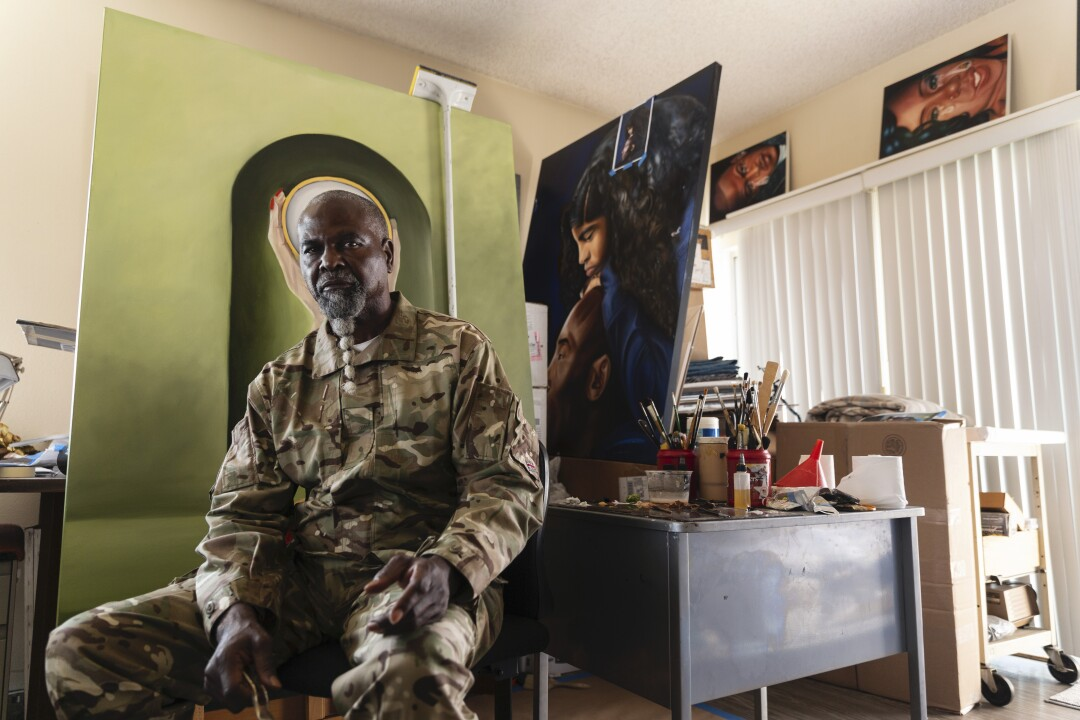 """Artist, Fulton Leroy Washington also known as """"Mr. Wash"""" photographed in his home in Compton, CA"""