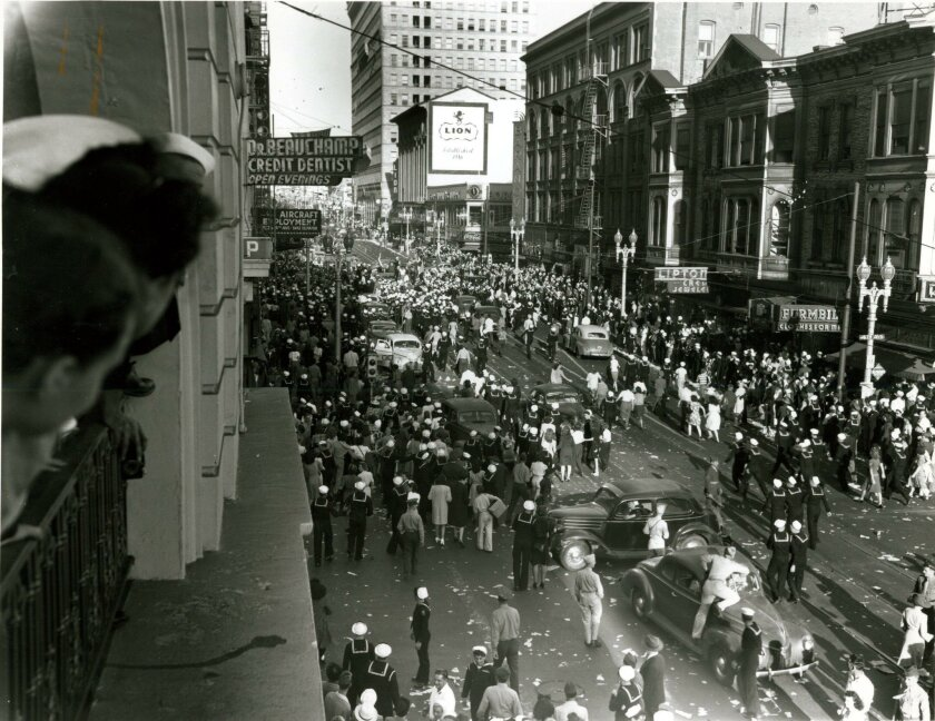 Sailors and civilians jammed Broadway in downtown San Diego when news spread of Japan's surrender, effectively ending World War II.
