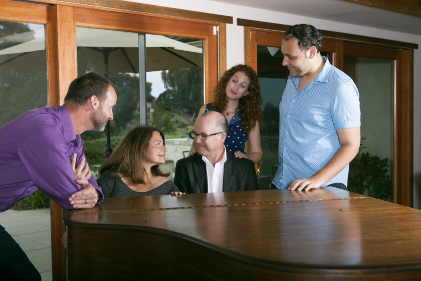 """L-R: Randall Dodge, Angelina Réaux, Alby Potts, Rena Strober and Nicholas Mongiardo-Cooper perform in """"Side by Side by Sondheim"""" at North Coast Rep from July 15-Aug. 9."""