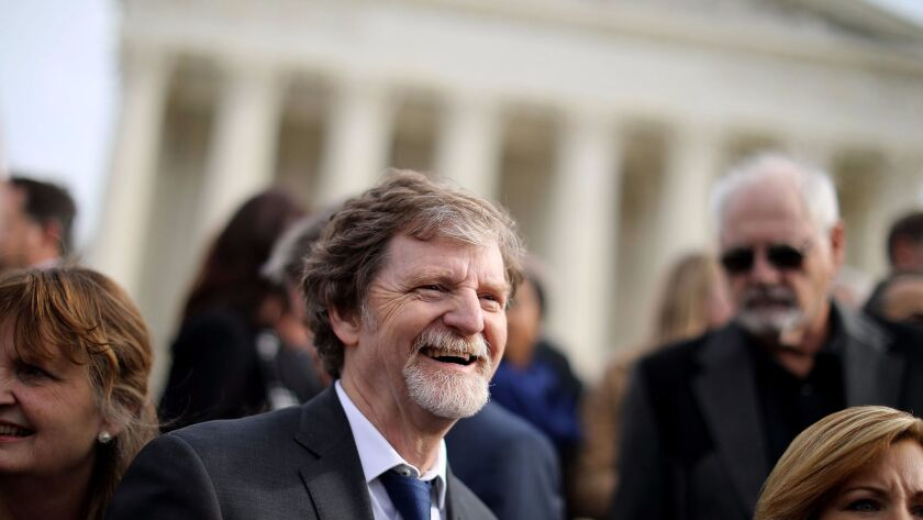 Conservative Christian baker Jack Phillips and members of his family and legal team Dec. 5 in front of the Supreme Court after the court heard the case Masterpiece Cakeshop vs. Colorado Civil Rights Commission.