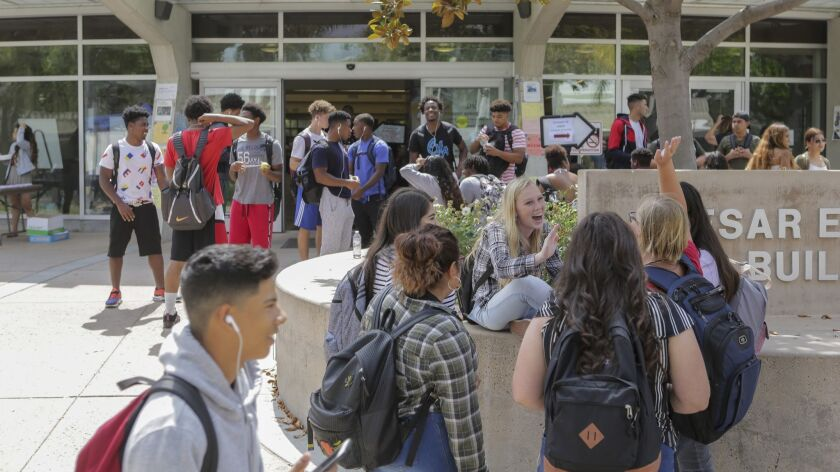 Students in front of the student services center at Southwestern College in Chula Vista on Monday, the first day of classes.