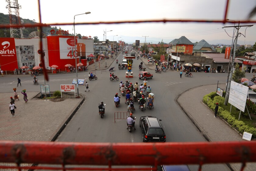The streets of Goma are filled with motobike taxis.