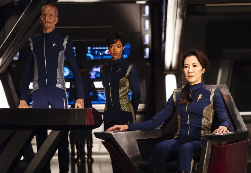 "Doug Jones, left, Sonequa Martin-Green and Michelle Yeoh in a scene from ""Star Trek: Discovery"" on CBS."