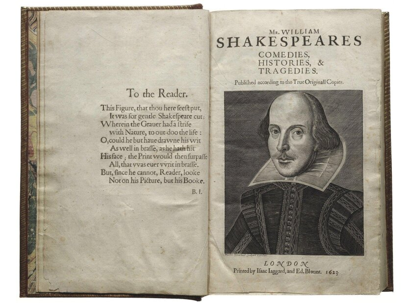 The title page of Shakespeare's First Folio, with an engraving of the Bard by Martin Droeshout. There are 233 known copies of the book.