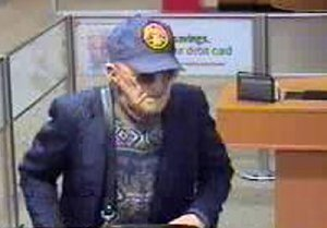 """Surveillance camera image of the bank robber known as """"The Geezer Bandit."""""""