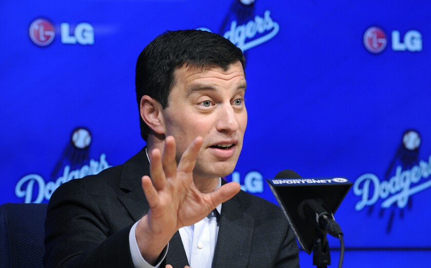 Dodgers newly appointed President of Baseball Operations Andrew Friedman answers questions during a news conference on Oct. 17.