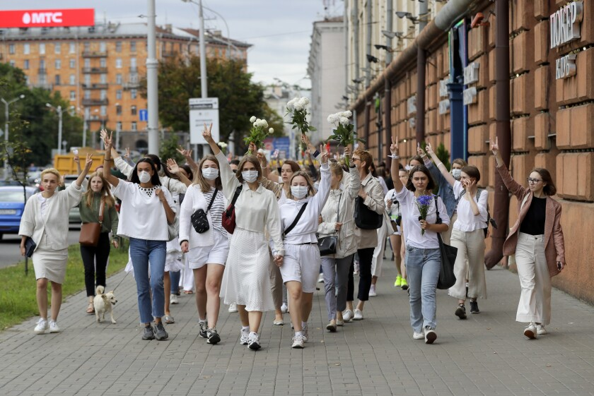 About 200 women march in solidarity in Minsk, Belarus
