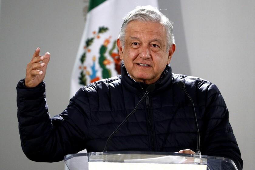 Mexican President Andrés Manuel López Obrador speaks after visiting a Mexico City hospital on April 3.