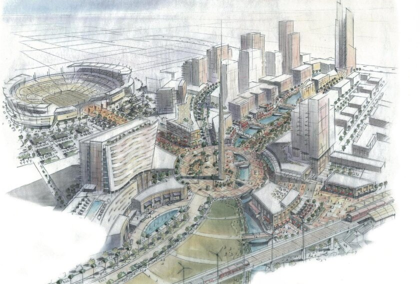 A rendering of the proposed Olympic Village in San Diego.