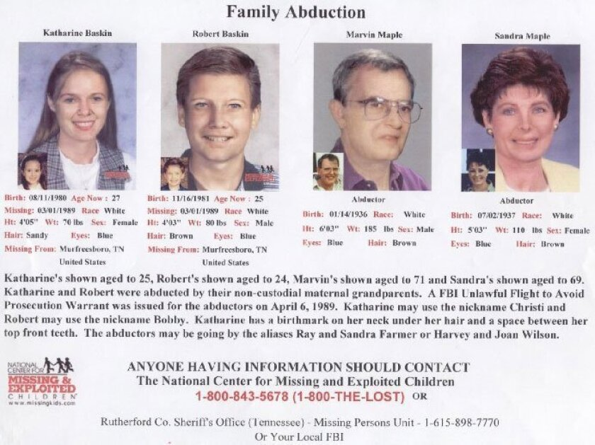 """Katharine Christine """"Christi"""" Baskin,   Robert Maple """"Bobby"""" Baskin, and  their maternal grandparents, Marvin L. and Sandra K. Maple,  are shown in a poster. <a href=""""/photos/2009/jan/12/14012/"""" title=""""Click to enlarge"""">Click here to enlarge</a>"""
