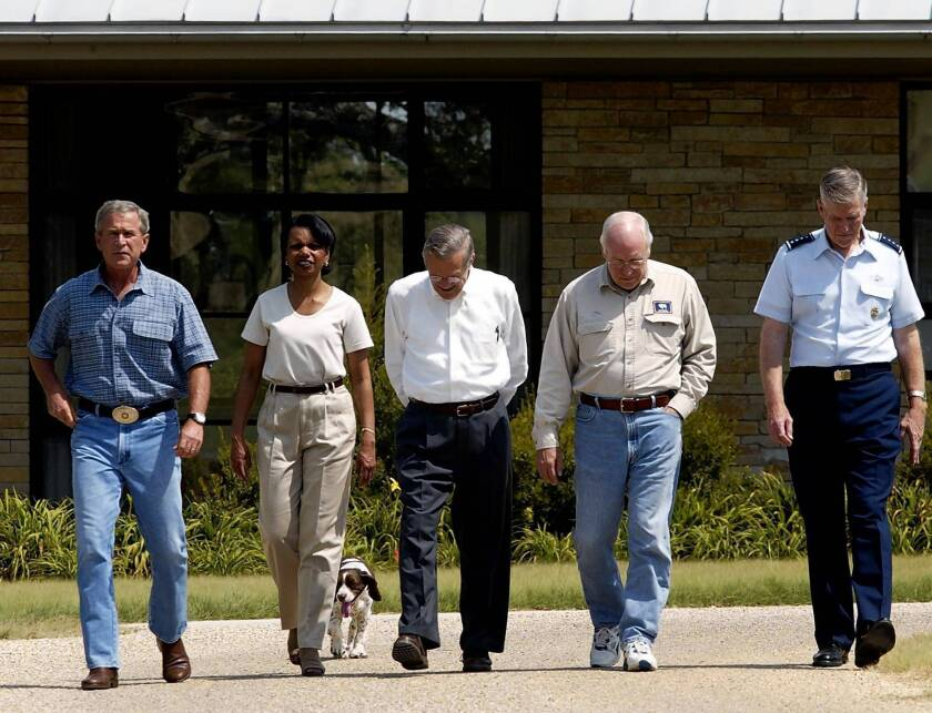 President George W. Bush with Condoleezza Rice, Donald Rumsfeld, Dick Cheney and Richard Myers.