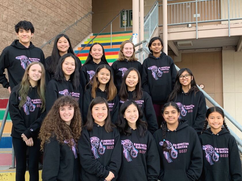 2019-2020 CCA Ravenettes All-Girls Robotics Team (left to right): Bottom row: Sarah Golts, Alexis Wu, Hannah Zhang, Perneet Bhathal, Bordeaux Phommavong; Middle row: Isabella Pizzi, Shera Zhong, Sakura Bindley, Sarah Luo, Madison Vu; Top row: Stefan Prestrelski (team mentor), Samantha Prestrelski, Ariel Betts, Lucy Hudson, Dhanya Jakkula; Not pictured: Tony Mauro (club advisor) and James Wu (team coach)