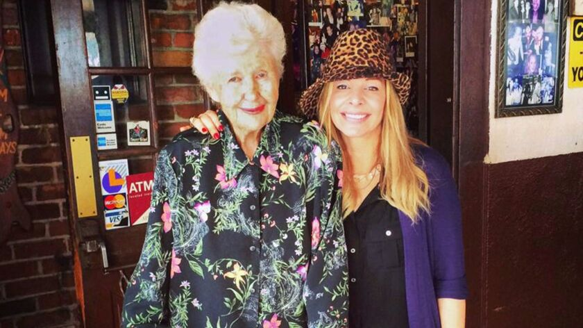 Charlotte Dale, left, with Alison Martino. Dale, the former longtime owner of the Villa Nova restaurant in Newport Beach, died June 7 at age of 93.