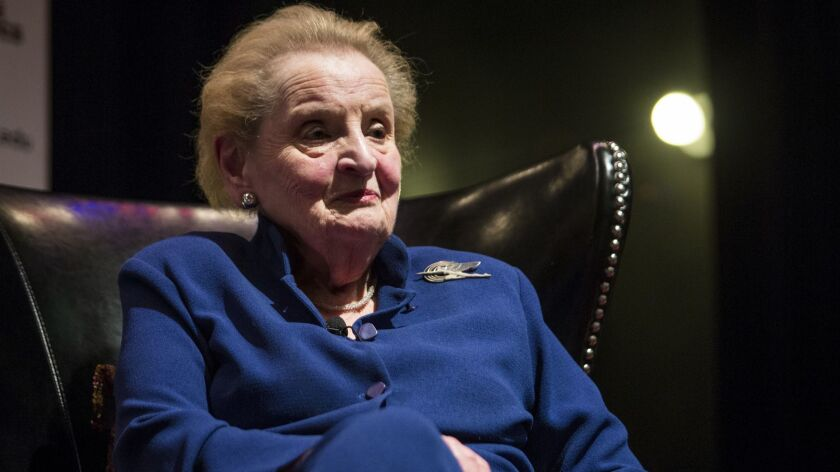 Former U.S. Secretary of State Madeleine Albright pauses as she speaks at the University of Chicago