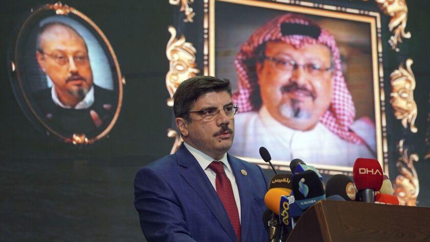 Yasin Aktay, an advisor to Turkey's president, speaks during a Nov. 11, 2018, event in Istanbul to mark the 40th day since the death of Saudi writer Jamal Khashoggi.