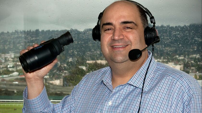 Race caller at Golden Gate Fields, Frank Mirahmadi. He was a finalist for the job at Santa Anita but