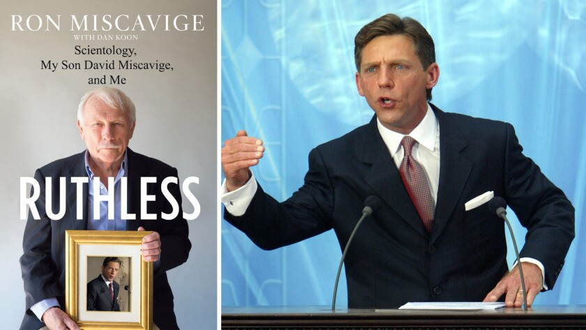 Cover of book 'Ruthless' (left). David Miscavige (right).