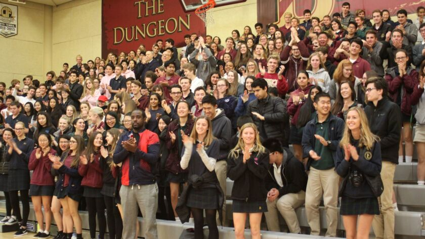 Bishop's School students offer Destiny a standing ovation.