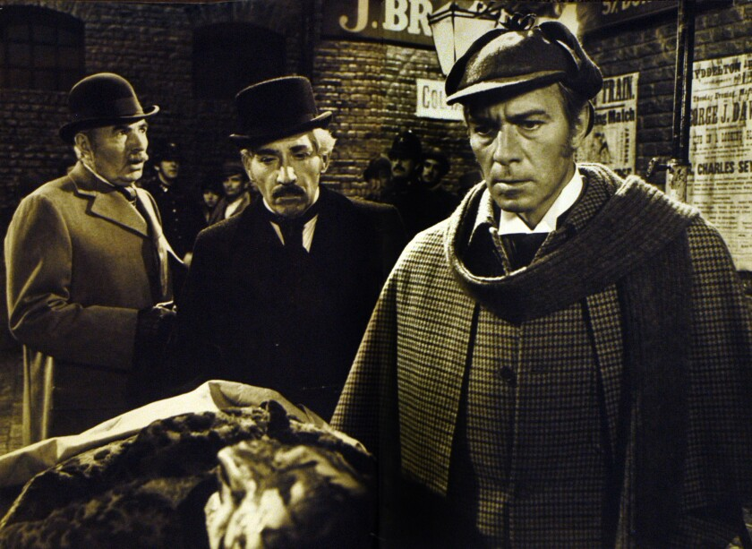 """James Mason, left, as Dr. Watson, Frank Finlay, center, as Scotland Yard inspector and Christopher Plummer as Sherlock Holmes in """"Murder by Decree."""""""