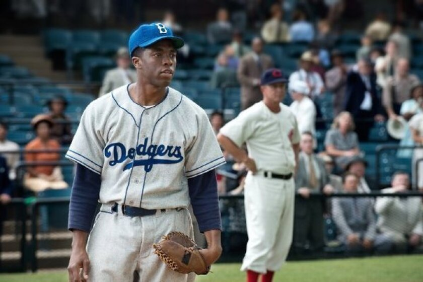 """Chadwick Boseman stars as Jackie Robinson in """"42,"""" which is expected to top the box office this weekend."""