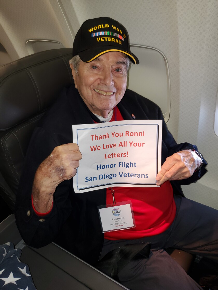 Frank Manchel. The photo was taken on the Honor Flight, shortly before Manchel collapsed and died.