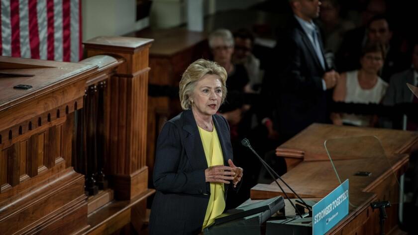 Hillary Clinton speaks Wednesday in Springfield, Ill.