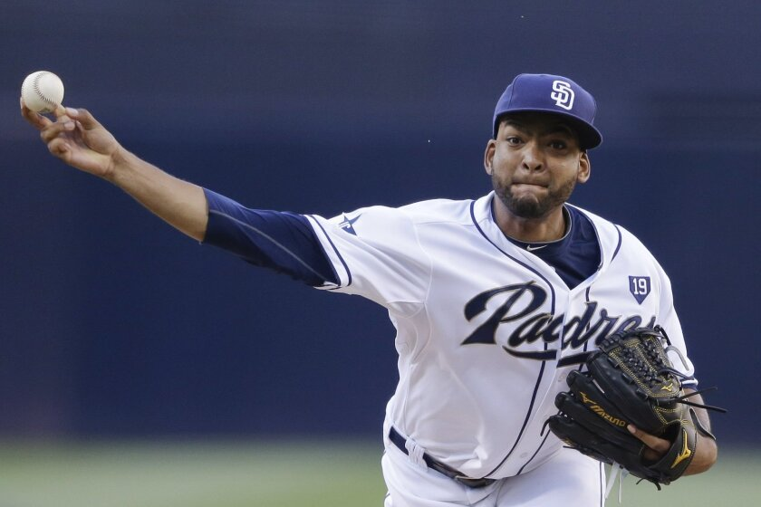 San Diego Padres starting pitcher Odrisamer Despaigne delivers to a Milwaukee Brewers batter during the first inning in a baseball game Wednesday, Aug. 27, 2014, in San Diego. (AP Photo/Gregory Bull)