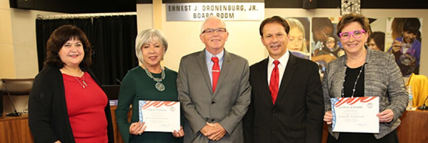 The San Diego County Board of Education. From left, board Vice President Alicia Munoz, trustee Guadalupe Gonzalez, board President Rick Shea, trustee Mark Powell, and trustee Paulette Donnellon.