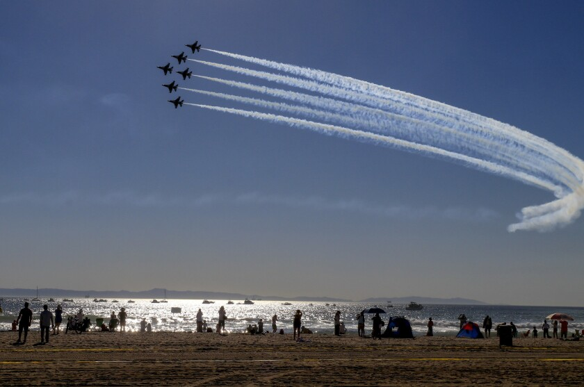 The Thunderbirds take a practice flight before the COVID-19 pandemic, in 2018.