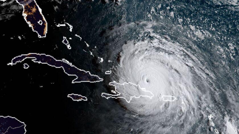 Satellite image shows Hurricane Irma's position on Thursday morning.