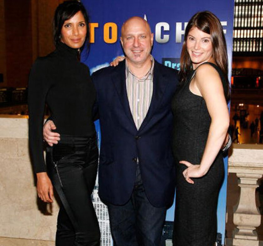 """From left, """"Top Chef"""" host Padma Lakshmi, head judge Tom Colicchio and judge Gail Simmons."""