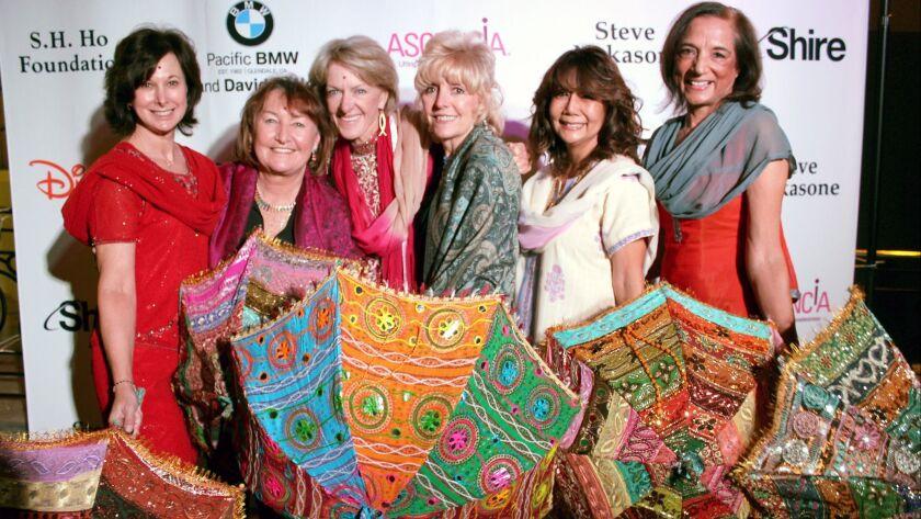 Best friends at the Ascencia Gala are, from left, Mandy Ramani, Mary Hopkins, Bonnie Barnes, Darcie Maze, Terri Kagawa, and Tika Ashby.