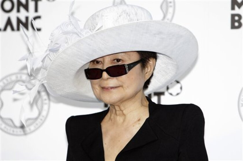 "FILE - In this July 22, 2011 file photo, Yoko Ono attends the ceremony of Montblanc de la Cuture Art Patronage award in Tokyo, Japan. On Nov. 1, 2011, Yoko Ono will launch ""Imagine There's No Hunger,"" a global campaign that will raise money and awareness for childhood hunger and poverty. (AP Photo/Shuji Kajiyama, File)"