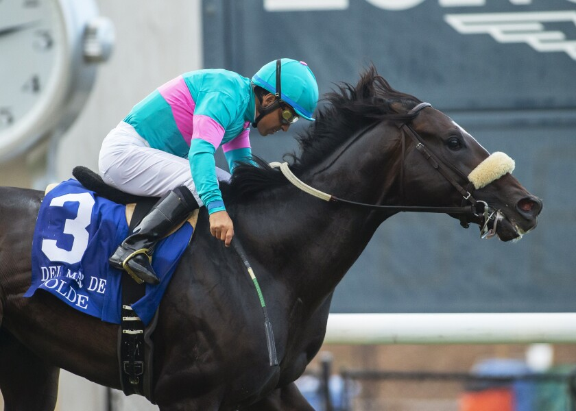 Jerome S. Moss' Nolde and jockey Victor Espinoza compete in the Grade II, Del Mar Derby at Del Mar Thoroughbred Club in Del Mar, Calif., Sunday, Sept. 1, 2019. They won the Grade II, $250,000 Del Mar Derby on Sunday. (Benoit Photo via AP)