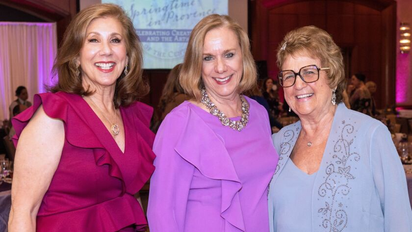 Mary Shebell, Amy Larson and Willie Goodman at the annual Guilds of the Center luncheon at Balboa Ba