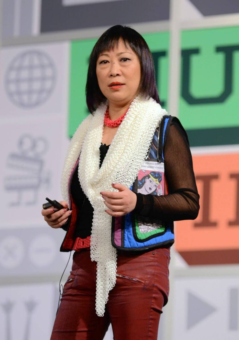 """Ping Fu, cofounder of Geomagic, appears onstage in Texas last March. Fu's memoir, titled """"Bend Not Break: A Life in Two Worlds"""" has been targeted by an online compaign that says much of her account of China's Cultural Revolution was untrue."""