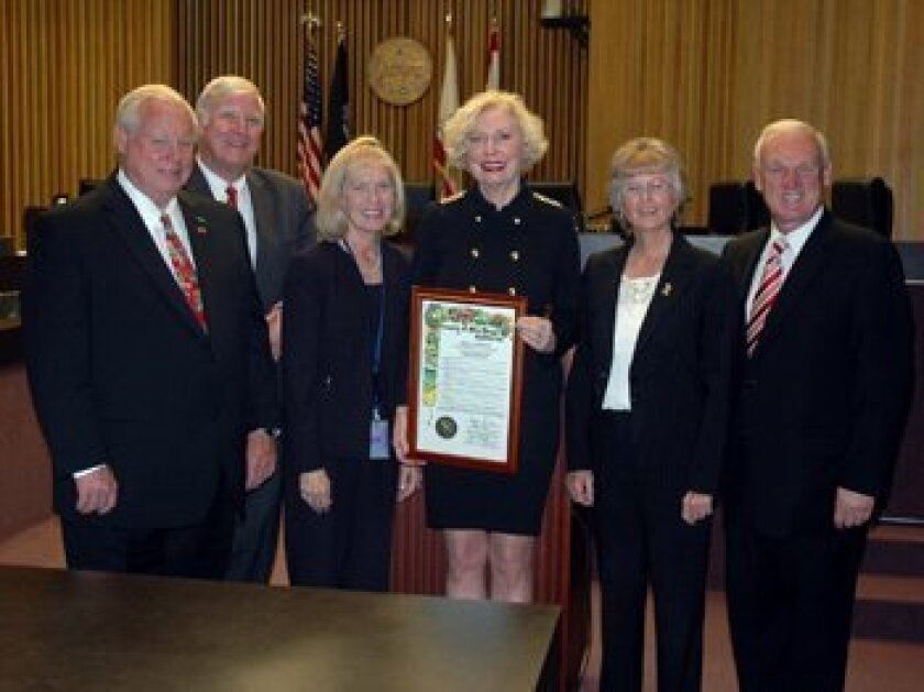 Supervisor Pam Slater-Price (center, holding plaque) with her colleagues on the San Diego County Board of Supervisors.