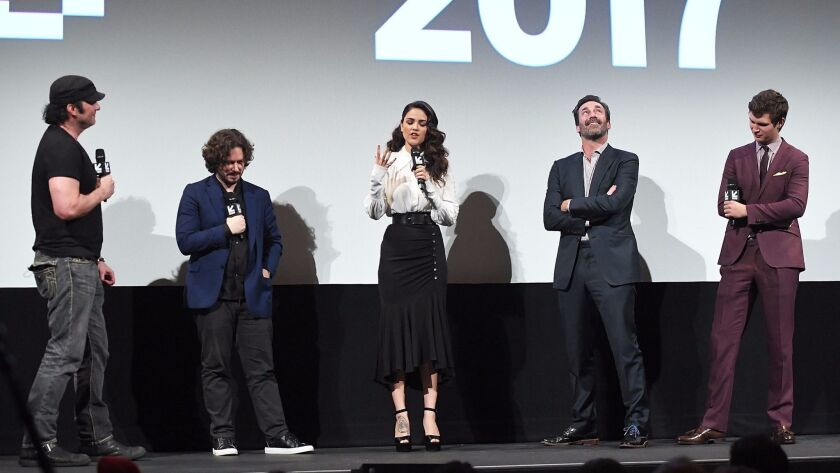 """From left, filmmaker Robert Rodriguez, director Edgar Wright, actors Eiza Gonzalez, Jon Hamm and Ansel Elgort onstage during the """"Baby Driver"""" premiere at SXSW."""