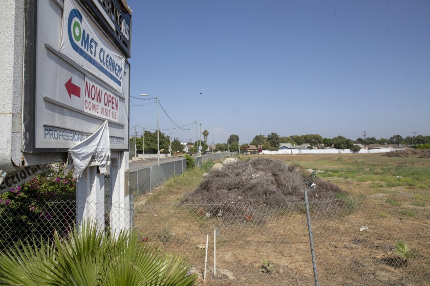 An L.A. city commission voted Tuesday to reject plans for 577 apartments on an empty lot on Crenshaw Boulevard, shown in 2018.