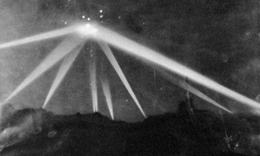 Searchlights illuminate the sky on the night of February 25, 1942 in an event that has become known as The Great L.A. Air Raid. Each year, the Fort MacArthur Museum celebrates one of the most fascinating and controversial events in Los Angeles History by recreating the WWII air raid complete with a big band and a historical re-enactment.